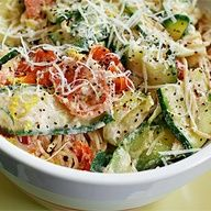 Jillian Michaels Pasta with zucchini, tomatoes and creamy lemon-yogurt sauce. This actually made more than I expected. It was tasty, filling, and fairly simple to make. A great way to use up any extra zucchini from the garden