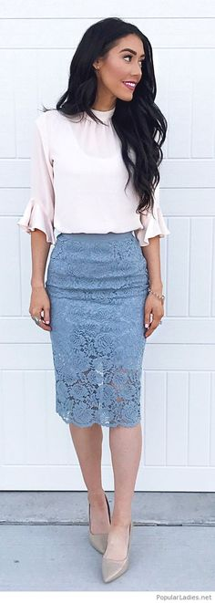 White top, navy lace skirt and nude shoes