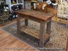 NO SHIPPING: AVAILABLE FOR LOCAL PICKUP ONLY!! This rustic and very unique Farmhouse Kitchen Island, Rustic Kitchen Island is handcrafted from a combination reclaimed barnwood and aged rough cut sawmill pine. The top is a full 2 inches thick and finished 3 coats of Danish Oil and