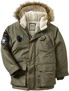 Boys Sherpa-Lined Graphic-Patch Jackets