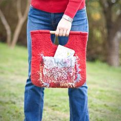 Red Nuno Felted Bag Wooden Handles Wool Multicolor by frenchfelt, €62.00