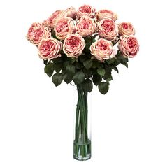 Silk rose arrangement in a glass vase.         Product: Faux floral arrangement    Construction Material: Glass and si...