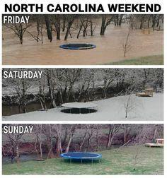 Weather Memes, Friday Saturday Sunday, North Carolina, Haha, Outdoor Decor, Life, Repeat, Ha Ha