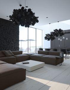 Diseño de Interiores & Arquitectura: El Minimalismo Cumple Patrones Sobre Apartamento Moderno, en Crimea.