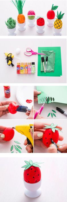 his year we're disguising eggs as our favorite fruits and veggies. Be real — these eggs are THE CUTEST! And, once again, no crazy dye is required to make 'em. All these need are basic supplies you have around your house: paint, Sharpies and paper.