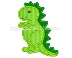 Dinosaur T-Rex Cute Boys Applique Machine Embroidery Design Pattern Green INSTANT DOWNLOAD