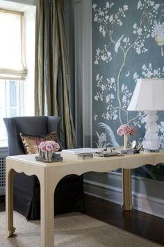 scalloped desk, upholstered chair, botanical wallpaper