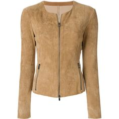 Drome Zipped Fitted Jacket (69.960 RUB) ❤ liked on Polyvore featuring outerwear, jackets, lamb leather jacket, zipper jacket, drome, lambskin leather jackets and fitted jacket