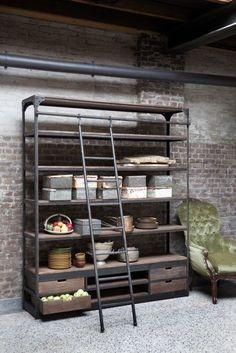 New Vintage boekenkast industrieel, met trap | Rootsmann