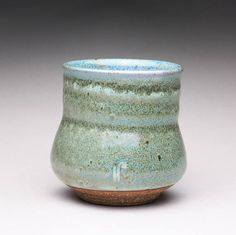 handmade pottery cup ceramic teacup tumbler with green and