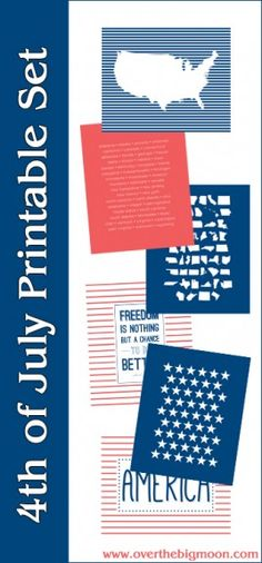 4th of July Printable Set (from Crystal Mickelsen Design) on www.overthebigmoon.com!