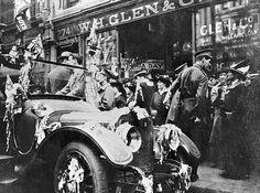 Negative - Crowd Surrounding Decorated Car for Australia Day Celebrations, Melbourne, Victoria, 26 Jan 1916 Australia Day Celebrations, Australian Flags, Veteran Car, Car Ins, Melbourne, Crowd, Antique Cars, Past, Classic Cars