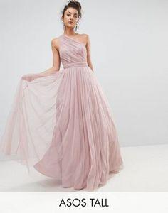 ASOS TALL PREMIUM Tulle One Shoulder Maxi Dress