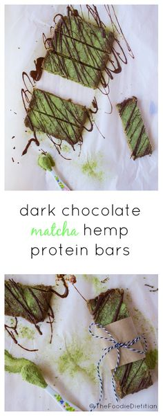 The perfect homemade protein bar for on-the-go! A nutrition-packed snack, dark chocolate matcha hemp protein bars are made with real ingredients and loaded with antioxidants, fiber, and protein.   @TheFoodieDietitian (ad)