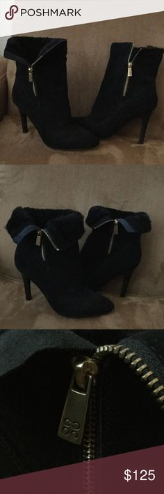 Coach booties Coach suede and faux fur lined booties. Can be worn zipped up or with top folded down to expose fur. They have been worn but other than the scuffs on the bottom there are no other signs of wear. Coach Shoes Ankle Boots & Booties