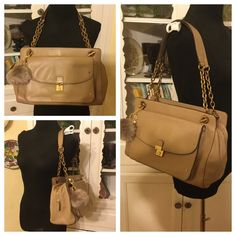 Tory Burch Priscilla Satchel in Tumbleweed I got this bag in a trade, and I'm just not crazy about it, so I'd love for it to go to someone who will really like it. It's the Priscilla handbag by Tory Burch. I believe the color is called tumbleweed. It's a light coffee beige, and overall, the bag is in good pre-owned condition with tarnish to the chains and clasp, wear to the metal clasp on the front closure. The bag has plenty of inside pockets and zips. Nice medium sized bag that is very…