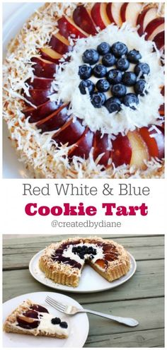 Red White and Blue Fruit and Cookie TART @createdbydiane