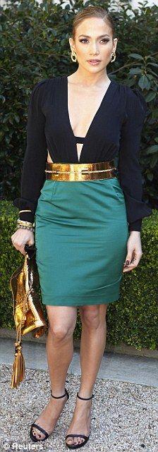 Jennifer Lopez - green skirt, black jersey top