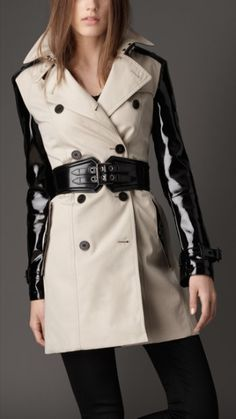Burberry patent leather sleeve trench