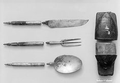 Knife, fork, and spoon Date: 17th century Culture: Spanish Medium: Steel(?), tortoiseshell; leather case Dimensions: Case 3 7/8 x 1 3/4 in. (9.8 x 4.4 cm) Classification: Metalwork-Steel