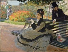 """""""Camille Doncieux Monet (1847–1879) on a Garden Bench"""" by Claude Monet. 1873, oil on canvas. In the collection of The Metropolitan Museum of Art, NYC. Portrait of the artist's first wife. It was painted the year her father passed away, which may explain her sad expression. Camille died 6 years after this painting. The man in the top hat was a neighbor."""