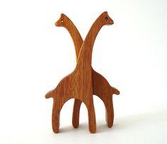 Giraffe Wood Toys Miniature Noahs Ark Animals Zoo Play Set Hand Cut Scroll Saw