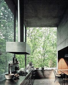 """air : architecture : peter zumthor : home : haldenstein : switzerland Love the openness and big huge glass expanse. Also like how """"not kitchen"""" this kitchen isLove the openness and big huge glass expanse. Interior Design Kitchen, Interior And Exterior, Interior Modern, Apartment Therapy, Beton Design, Decoration Inspiration, Decor Ideas, Apartment Kitchen, My Dream Home"""