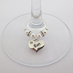 Son CZ Silver Heart...Bottle and/or wine glass charm
