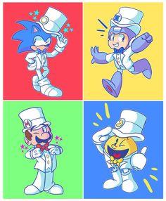 Tuxedo Mario, Tuxedo Pac-Man, Tuxedo Sonic and Tuxedo Mega Man. Super Smash Bros Memes, Nintendo Super Smash Bros, Nintendo Characters, Video Game Characters, Nintendo Games, Sonic The Hedgehog, Super Smash Ultimate, Super Mario Art, Otaku