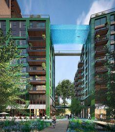 Wereldprimeur: zwembad vormt brug tussen twee appartementsgebouwen - Architectuur - Wonen - KnackWeekend.be