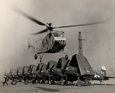 Sikorsky HNS-1 Hoverfly and F4U Corsair