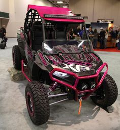 Polaris has donated a customized pink RZR XP 1000 to the American Cancer Society as part of its Making Strides Against Breast Cancer campaign. Rzr 1000, Polaris Rzr Xp 1000, Polaris Utv, Motorcycle Camping, Camping Gear, Girl Motorcycle, Motorcycle Quotes, Kids Atv, Big Girl Toys