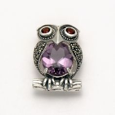 Marcasite Owl with Amethyst Body and Garnet Eyes Pin at theBIGzoo.com, an animal-themed store established in August 2000. eye pin, marcasit owl, garnet eye