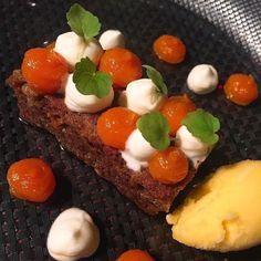 Carrot Cake con Sorbete de naranja y crema de Zanahoria y Vainilla #gastronomia #food #postre #restauranteellago
