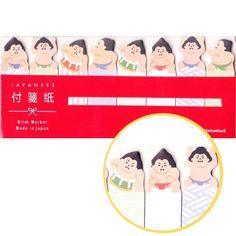 Japan Themed Sumo Wrestler Shaped Memo Post-it Index Bookmark Tabs