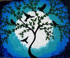 green and blue painting green art tree of life by SheerJoy on Etsy
