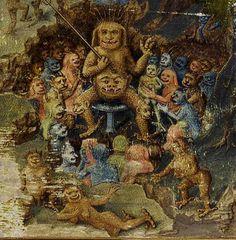 Bibliothèque nationale de France, Français 91, detail of f. 1 (demonic council) Robert de Borron, L'Istoire de Merlin (1480-1485). Artist: Jean Colombe