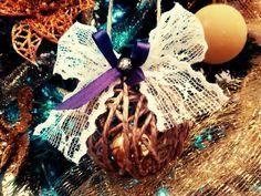 Burlap jingle ornament