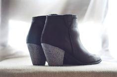 Glitter heel booties