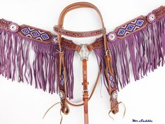 PURPLE FRINGE LEATHER HEADSTALL WESTERN HORSE SHOW BRIDLE BREASTCOLLAR #mrsaddle