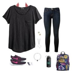 """""""OOTD:field trip to Wildflower Center """" by avazumpano ❤ liked on Polyvore featuring Charlotte Russe, H&M, Frame Denim, NIKE, Minor Obsessions, Carolee, Falke and Vera Bradley"""