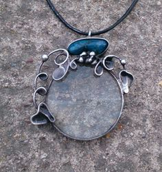 Metal necklace with Gemstone chrysocolla and magnifying glass. Pendant is handmade.Tiffany technique, Healing Stone, jewellery . by Helenamode on Etsy