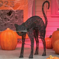 "32"" Pre-Lit Animated Black Cat Halloween Decor captures the drama of a spooky black cat."