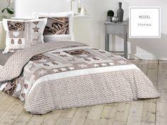 Bavlnené posteľné obliečky v hnedej farbe s motívom prírody