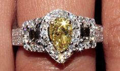 VVS Fancy Yellow Diamond Engagement Ring Halo Pear Shape 4.65 Ct 18K White Gold #DiamondsByElizabeth #SolitairewithAccents