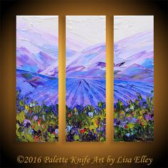 "Vineyard Painting, Triptych Painting, Napa Valley Art, Vineyard Vines, California Landscape, Original Painting,36"" Canvas Art,Large Painting"