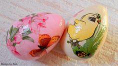 Design by Suzi: Polystyrénové vajíčka Easter Eggs, Decoupage, Jar, Spring, Design, Dates, Jars, Glass