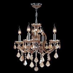 Worldwide Lighting W83119C18-AM Catherine 4 Light 1 Tier 18 Chrome (Grey) Chandelier with Gold Crystals (Brass)