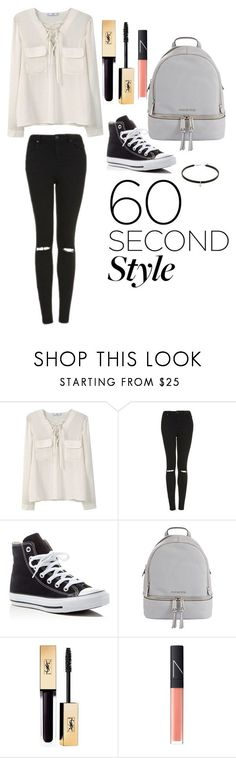 """Untitled #17"" by farahalmazyad ❤ liked on Polyvore featuring MANGO, Topshop, Converse, MICHAEL Michael Kors, NARS Cosmetics, men's fashion, menswear, DRAKE, views and 60secondstyle"