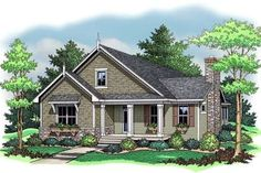 Houseplans.com so cute! 1599 sq ft. 3 br plus a loft! No formal dining, big pantry in kitchen, no laundry room, just a washer/dryer closet. Still lots of great features.